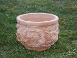 Terracottakrukke  – Rund med mønster – buet bund