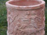 Terracottakrukke  – Rund med mønster – håndlavet